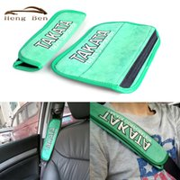 Wholesale TAKATA Racing Pieces set Green Car Seat Belt Pads Shoulder Pads Cover Cushion Harness Pad
