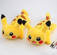 Wholesale New Poke Go Plush Pencil Bags Pocket Monster Pikachu Children s Pen Bag Female Cartoon Makeup Bag