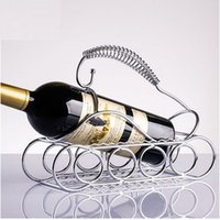 Wholesale Home Decoration Ornaments Creative Home Bar Continental Iron Arts Grapes Stainless Steel Wine Rack Kitchen Shelving