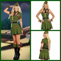 achat en gros de costume marin vert-Vente en gros-Halloween Masquerade Exportation de la qualité des agents de l'armée de terre de sexe féminin uniforme de police Costume Costume Marin Marine Role Playing H158433