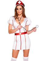 adult doctor costumes - Newest Sexy V Neck Short Sleeve Nurse Costume Doctor Costumes Adult Cosplay Cutie Costume LC8929 Fantasia Sexual