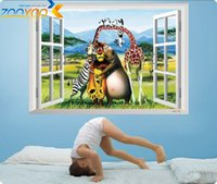 Wholesale Madagascar movie Animal Wall tattoos wall stickers for kids room baby room removable PVC bedroom art wall stickers home decor amp