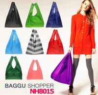 bag safe - DHL free ship New Candy color Japan Baggu Reusable Eco Friendly Shopping Tote Bag pouch Environment Safe Go Green