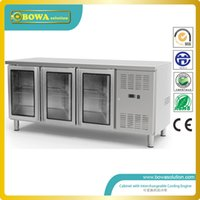 refrigerated counter - 417L refrigerated stainless steel doors counter