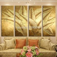 banana leaf pictures - Hand Painted Gold Japanese Banana Leaf Oil Painting Modern Abstract Piece Canvas Art Wall Decor Picture Sets