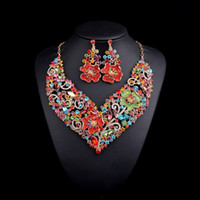Wholesale Brand Bridal Jewelry Sets Gold plated Big flower Statement Necklace and Earrings for Brides Wedding Party Accessories Women