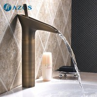 antique brass bathroom faucets - AZOS Bathroom Basin Tap Brass Antique Brass Color Single Hole Deck Mount Hot Cold Mixer Toilet Sink Faucet Furniture Replacements MPDKZ108