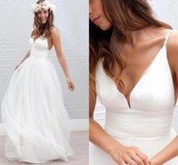 Wholesale 2016 Cheap Summer Beach Bohemian Sexy Wedding Dresses A Line V Neck Tulle Sweep Train Plus Size Backless Formal Bridal Gowns Under
