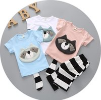 american raccoon - 2016 Raccoon cartoon cotton short sleeved round neck two piece sets T shirt shorts Children s beach summer clothes E186