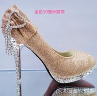 best ballet flats - 2017 best gift for you diamond middle high heel platform bride shoe gold wedding shoe