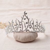 Wholesale HG250 Luxury Bridal Crystal Tiara Crowns Princess Queen Pageant Prom Rhinestone Veil Tiara Headband Wedding Hair Accessory