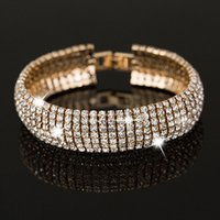 Wholesale Gold and Silver Classic Crystal Pave Link Bracelet Bangle Fashion Full Rhinestone Jewelry for Women Hot selling