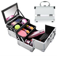 aluminum drawer - Portable Extendable Makeup Train Case Aluminum Cosmetic Box with Mirror for Salon Travel Party Daily Organizer