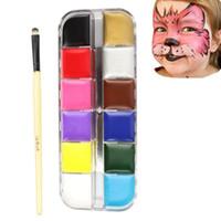Wholesale 12 Face Body Paint Oil Flash Brush Tattoo Color Painting Temporary Tattoo Tatuajes Tatuagem Peinture Grease Paint Makeup