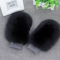 Wholesale Women Fashion Brand New Genuine Woollen Fox Fur Covered Winter Gloves Mittens