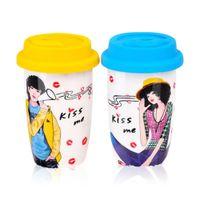 photo mug - Ceramic Mug Porcelain Coffee Mugs With Silicone lid Novelty Kiss Double Ceramic Milk Cup Dinkware Lady Photos Tea Sets Gift