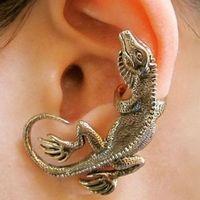 antique clip earrings - The essential punk lizard house lizard VINTAGE ear clip earrings antique animal ear cuff lizard left ear cuff