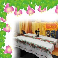 Wholesale Cotton Tablecloth Christmas Tablecloth Kitchen Decoration Christmas Ribbons Printed Fabric Table Cloth x120 Cover Fabric Tablecloth