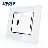 audio wall panel - Livolo White Crystal Glass Panel One Gang USB Plug Socket Wall Outlet VL C791U Audio Socket