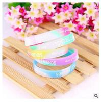 Wholesale Glow bracelet Popular BEST FRIENDS letter fluorescent color luminous hand ring of soft rubber hand ring Jelly Glow bracelet