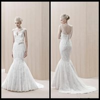 arriva trains - Sexy V Neck Wedding Dresses Ivory Lace Mermaid Wedding Bridal Dresses With Applique Beads New Arriva