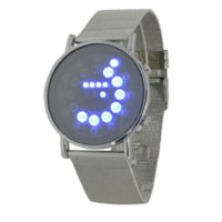 ball mens watch - 2016 hot mens sports blue amp multi led lights ball display silver mesh stainless steel band digital Week Date women wrist led watch