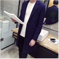 Wholesale Fall Hot Sale Mens Fashion Long Trench Coat Solid Grey Turn Down Collar Winter Overcoat Gym Clothing Men Casual Woolen Jacket