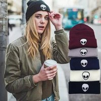Wholesale 2016 New Winter Alien Embroidery Knitted Hat Beanies Street Men And Women Hip Hop Warm Wool Cap