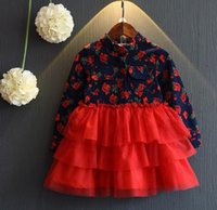 beautiful baby wear - 2016 Patchwork Long Sleeve Softtextile Baby Girls Party Wear Dress Beautiful Princess Lace Girl Dress Rabbit Fur Girl Dress
