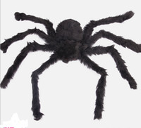 animal brain - Black CM Soft Plush Fluffy Imitate Spider Funny tricky brains Toy Scary Red Eyes for Halloween Decoration Party Stage Props