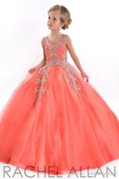 Cheap Real Top Beaded Coral Organza Puffy Ball Gown Girls Pageant Dresses 2016 First Communion Dresses For Girl Prom Dress