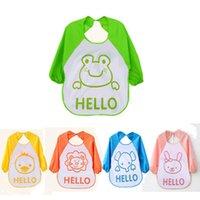 animal feed for sale - 2016 New Waterproof Animal Baby bibs Kids Child Cartoon Plastic Baby Bibs Soft long sleeve feeding Clothing For Baby Hot Sale