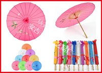 Wholesale 40pcs Chinese Umbrella Bamboo Frame Wooden Handle Wedding Parasol Pure Color with no logo Artificial Silk Art Umbrella