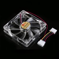 Wholesale 12cm HELE Brushless PC Computer Clear Case Quad Blue RED Colorful LED Light Blade CPU Cooling Fan V
