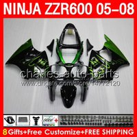 air mold - green flames gifts Body For KAWASAKI NINJA ZZR600 CC NO246 ZZR ZZR gloss black airing