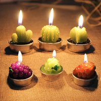 artificial flame - Artificial Green Plants Candle Home Decor Mini Cactus Candles for Birthday Wedding Decoration Table Tea Light Garden Scented Candles