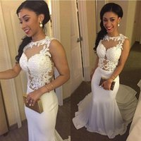 beautiful wall lights - Beautiful Mermaid Prom Dresses Sheer Illusion Neck Bodice Wall Satin Custom Made Special Occasion Evening Dresses