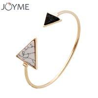 agate marbles - Joyme New Fashion Faux White and Black Marble Stone Cuff Bracelets Bangles For Women Gold Tone Punk Trendy Open Bracelet Jewelry