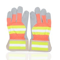 working gloves split leather - YSSAFE Hi Visibility Split Leather Palm Work Gloves with Reflective Tape
