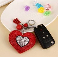 Wholesale 2016 New Fashion Car Play Colors Full Crystal Rhinestone Heart Key Chain silver Chain Keychain Bag Car Hanging Pendant Jewelry