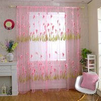 Wholesale 2016 New Arrival Calla Lily Pattern Tulle Curtains for Living Room Kitchen Curtains for Bedroom Tulle Sheer Curtains JI0136