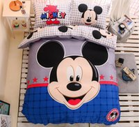Wholesale Smile Mickey Mouse Kids Bedding Sets Bedding Animation Cartoon Home Textiles Duvet Cover Sets Pieces Bedding Sets