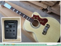Wholesale Hot Sale Burlywood Spruce Top Maple Sides Back with Fishman Pickup EQ Acoustic Electric Guitar SJ200