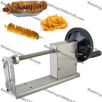 Wholesale Manual Hot Dog Twister Spiral Tornado Potato Curly Fry Cutter Slicer with L v v Electric Deep Fryer Bamboo Skewer