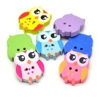 Wholesale 6pcs Cute Mixed Owl Shape Pattern Wooden Buttons holes decorative buttons for clothing sewing accessories