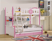 Wholesale 2pcs Set Classic MDF Panels Children Kids Youth Teenage Bunk Bed with Labber and Drawer coluor pink blue white