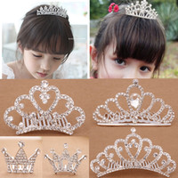 Wholesale In Stock Great Deal Rhinestone Pearls Crowns Jewelries Cheapest Kids Wear Little Girls Head Pieces Wedding Partys Flower Girls Crown