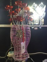 aluminium roses - What makes modern manufacturers selling roses aluminium lamp purple vase bedroom aluminum wire lamp