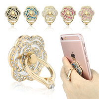 alloy aluminium grip - Luxury rose shape Universal Phone Stand Multi Angle Portable Stand Rotation D Aluminium Alloy Ring Grip Phone Holder white