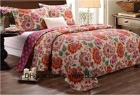 artical flower - HOT Pure cotton pastoral artical quilting is bed lid three piece suit cotton flower quilting bed cover air conditioning bedspread
